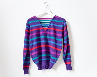 Vintage 80's Purple Striped Sweater