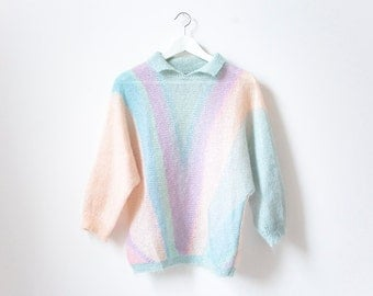 80s Wool Pastel Striped Pullover Sweater