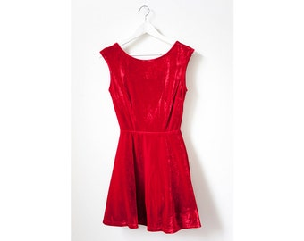 Vintage 90s Red Velvet Open Back Dress