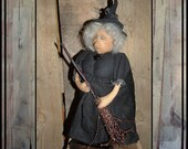 Standing soft sculpted primitive Folk Art witch cloth art doll HAGUILD HAFAIR OFG faap