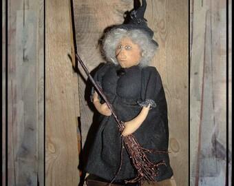 Standing soft sculpted primitive Folk Art witch cloth art doll HAGUILD HAFAIR OFG faap