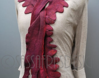 Scarf, shawl, collar, hand felted, hand dyed, ruby red, OOAK wearable art accessory, handmade fashion, women's bohemian style accessories