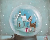 Kids Wall Art, Kids Art, Blue, Snow Globe Print, baby animal art, Kids decor by inameliart