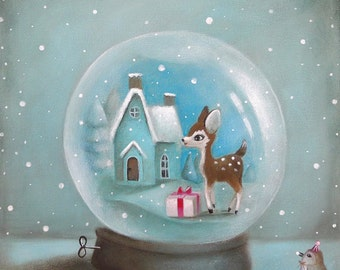 Kids Wall Art, Kids Art, Blue, Snow Globe Print, baby animal art, Kids decor by inameliart