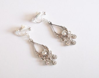 Earrings Silvertone Clear Rhinestones Vintage Wedding Jewelry Bridal Party Prom 1990s Gift for Her Mother's Day Birthday