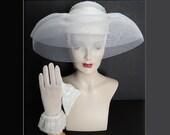 Vintage 1980s Hat//Wedding Hat//Matching Gloves//Pearls//Sequins//80s Hat//