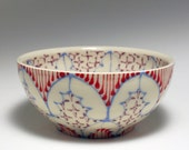 Small Wheel Thrown Handmade Ceramic Bowl with Sky Blue, Red and Purple Pattern