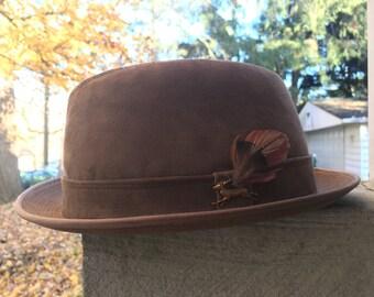 Vintage Deerskin Trilby hat - USA made by The Deerskin trading post of Danvers, MA