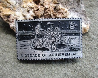 A Decade of Achievement Lunar Rover US 8 Cent Stamp Belt Buckle Dory Solid Pewter