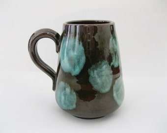 Treimane Art Pottery Mug Canada High Gloss Chocolate Brown Turquoise Blue Abstract Design - FL