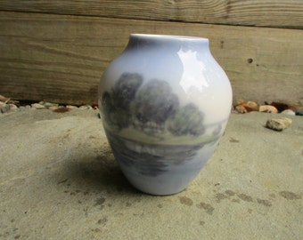 Bing and Grondahl  Vase Lake and Green Trees Porcelain Vintage B&G