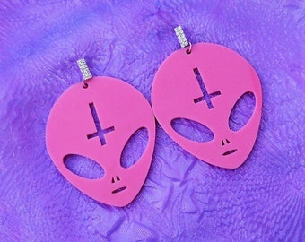 Big Candy Pink ANTICHRIST ALIEN Earrings