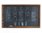 Framed Wine Fleight Chalkboard Rustic Kitchen Art Oversized Wine Lover Large Chalkboard Vintage Wood