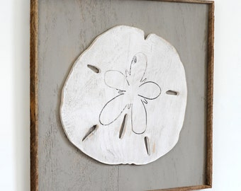 Framed Sand Dollar Rustic Frame Beach Decor Sand Dollar Coastal Wall Decor
