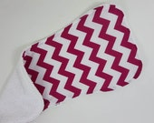 pink chevron burpie for baby girl. reverse side is absorbent terry cloth in your color choice. baby shower gift burp cloth.