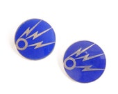 2 Mystery DUI Pins Pair of Distinctive Unit Insignia Enamel Pinback Collar Pins Circle & 3 Lightning Bolts Silvertone on Dark Blue: Radio?