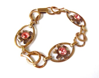 Vintage Van Dell Sterling Silver Link Bracelet with Pink Rhinestone Flowers - 1/20 12K Gold Fill over Sterling Silver - Art Deco Jewelry