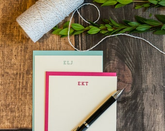 Custom Initials Stationery -Trend Font - Custom Color & Message