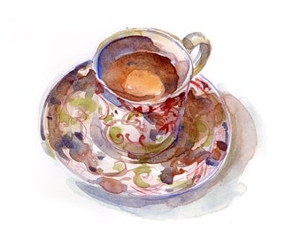 Kitchen Art,Orange Cinnamon Tea - print from an original watercolor sketch