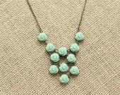 Custom Mint Green Rose Statement Necklace - Rose Necklace - Mint Bridesmaid Necklace - Bridal Necklace - Mint Wedding - Blush Wedding -Coral