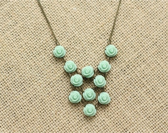 Custom Mint Green Rose Statement Necklace - Rose Necklace - Mint Bridesmaid Necklace - Bridal Necklace - Mint Wedding - Blush Wedding -Coral
