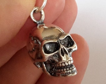1 Solid Sterling Silver 925 Gothic biker Large Skull  pendant charm