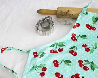 Retro Cherries on Aqua Youth Size Apron