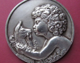 Art Deco French Brooch Jeune Faune Antique Art Medal Brooch Signed Thenot  SS410