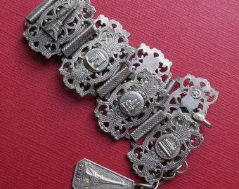 Antique French Panel Bracelet Tour Paris Eiffel Tower Jewelry