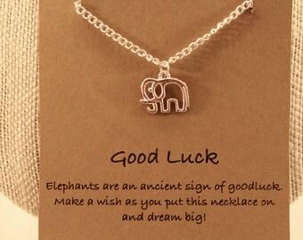 Elephant Wish Necklace: Lucky Charm Elephant Charm Necklace, Wish Jewelry, Wish Necklace, Best Friends, Good Luck, Friendship