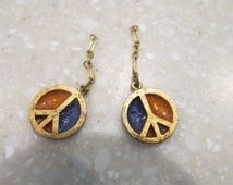 Two Vintage 60's Peace Sign Metal Jewelry Findings for Repurpose