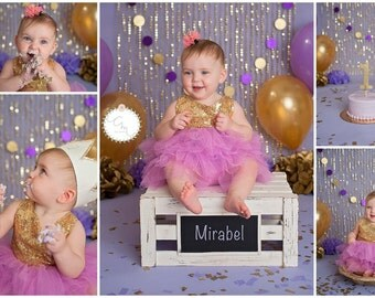 Lavender and Gold Photo Shoot, Baby Girl Photo Shoot Props, 1st Birthday Photoshoot, Tissue Paper Pom Poms, Gold Pom Poms, Lavender Pom Poms