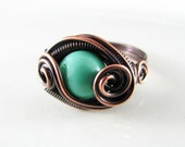 Wire Wrapped Ring Mint Green Amazonite Ring Size 8 Copper Ring Dragons Eye Ring Wire Wrapped Jewelry Copper Jewelry