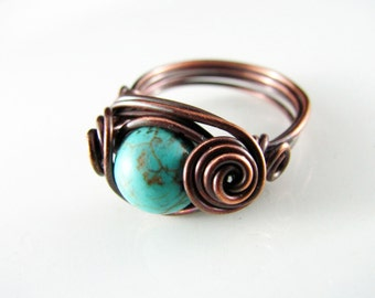 Wire Wrapped Ring Turquoise Copper Ring Size 5.5 Size 6 Dragons Eye Ring Wire Wrapped Jewelry Copper Jewelry Turquoise Ring