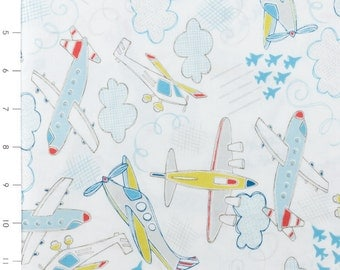 END Of BOLT ~~ 21 inches ~~ SALE Camelot Take Flight by Vita Machachonis White Airplanes 1140501 Light Blue