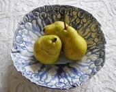 Blue White Porcelain Bowl, Modern Flow Blue, Fruit Bowl, Cobalt Blue, Ceramic Bowl, Serving Bowl, Pottery Bowl, Lace Pottery, Organic Shape