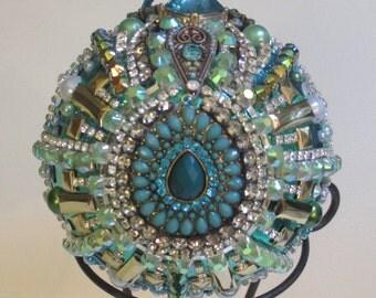 Jeweled Christmas Ball Large Unbreakable Blue Aqua Turquoise