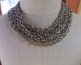 Vintage Silver Tone Multi Strand 7 Chains Adjustable Necklace 1960s to 1970s Seven Chains