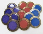 "6-5-4: 13/16"" (21mm) Button Assortment - Set of 15 Matching Style Buttons in 3 Different Faux Metal Colors, 3 Different Center Colors"