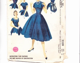 McCalls 3359 Vintage Pattern 1955 Full Skirt, Dress W/variable collars Size 15 Bust 33