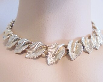 Vintage Collar Necklace / Choker Signed CORO Gold Plated Tone Metal 68 Gram 1950's Retro Runway Statement Art Deco