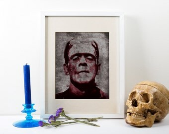Frankenstein Art Print, Frankenstein, Frankenstein Portrait, Frankenstein Poster, Frankenstein Print, Giant Frankenstein Poster Art, Print