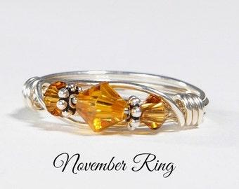 November Birthstone Ring: Handmade Sterling Silver November Birthstone Ring made with Topaz Swarovski Crystals. Birthday & Christmas gift.