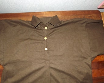Mens Extra Large Civil War Brown Print Cotton Shirt in stock