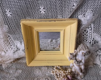 Shabby French Country Cottage mirror, distressed, squash yellow painted vintage