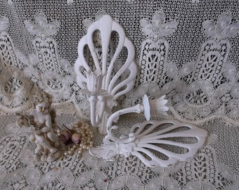 Shabby Paris Romance Candle sconce PAIR, creamy white, distressed, ornate metal, chippy