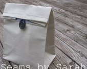 LARGE-Canvas lunch sack  // Re-useable lunch sack // washable lunch bag //Optional Handle