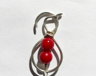 Woman wearing red dress, Coral, Sterling Silver Pendant, , Etsy jewelry, Lilyb444