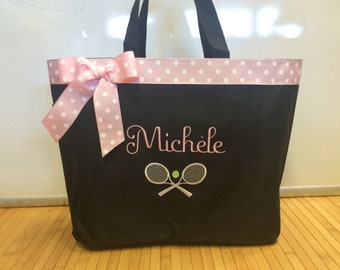 Personalized Tennis Ball Racquet Tote Bag Diaper Bag