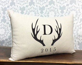 Personalized Monogram Pillow With Antlers And Established Date, Personalized Wedding Gift, Wedding Shower Gift, Cotton Anniversary Pillow
